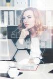 Nachdenkliche Geschäftsfrau und Diagramme stockfoto