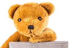 Nachdenklicher brauner Teddybär, der auf einer Graupappe sich lehnt Stockbild