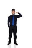 Nachdenklicher junger Geschäftsmann With Blue Tie Lizenzfreie Stockfotografie