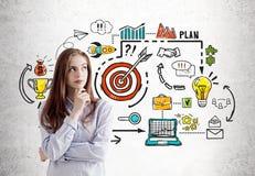 Nachdenklicher Startgründer und Unternehmensziele Lizenzfreie Stockbilder