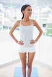 Nachdenkliches herrliches Modell bei der Sportkleidungsaufstellung Stockfotografie