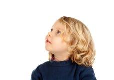 Nachdenkliches kleines blondes Kind Stockbild