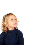 Nachdenkliches kleines blondes Kind Lizenzfreies Stockfoto