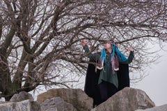 Nachdenkliches Mädchen mit blauen Haar Dreadlocks im Wald auf den Felsen Frau Wikinger unter den Baumträumen und -blicken in den  stockfotos