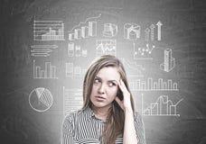 Nachdenkliches Porträt der jungen Frau, Statistiken Stockbild