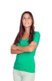 Nachdenkliches zufälliges Mädchen Lizenzfreie Stockfotografie