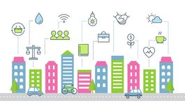 Nachhaltige Entwicklung und Smart-Stadt-Vektor-Illustration vektor abbildung