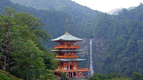 Nachi falls pagoda in Japan Royalty Free Stock Photography