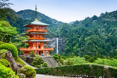 Nachi, Japan Pagoda and Waterfall Royalty Free Stock Images