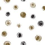 Nachlässige Kreise, gelegentliches Gekritzel punktiert nahtloses Muster Lizenzfreies Stockbild