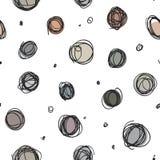 Nachlässige Kreise, gelegentliches Gekritzel punktiert nahtloses Muster Lizenzfreie Stockbilder
