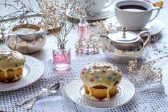 Nachmittagstee mit Muffins Lizenzfreies Stockbild