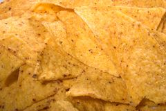 Nacho background. Close up of nacho chips, great texture, a gourmet's background Royalty Free Stock Photo