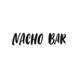 Nacho Bar. Cinco de Mayo mexican hand drawn lettering phrase isolated on the white background. Fun brush ink inscription for photo Stock Photography
