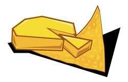 Nacho cheese. Simple illustration for a nacho cheese on top of a nacho chip Royalty Free Stock Photo