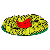 Nacho (chip di tortiglia) Serie di alimento e bevanda ed ingredienti per cucinare Fotografia Stock Libera da Diritti
