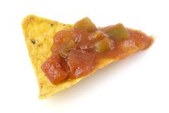 Nacho chip with salsa sauce Royalty Free Stock Photos