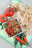 Nacho Chips. On a plate with salsa and vegetables Stock Image