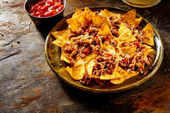 Nacho chips, cheese and beef with copy space Stock Photo