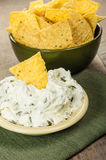 Nacho chips with cream cheese dip Stock Image