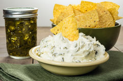 Nacho chips with cream cheese dip Royalty Free Stock Photos