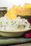Nacho chips with cream cheese dip Stock Images