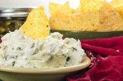 Nacho chips with cream cheese dip Stock Photo