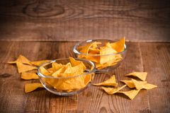 Nacho chips. Nacho chips on glass bowl Stock Photos