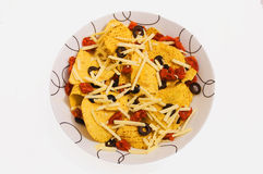 Nacho chips with olives Royalty Free Stock Photos