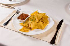 Nacho Chips and Salsa on Plate Royalty Free Stock Photos