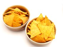 Nacho chips. Some nacho chips made of corn wheat Stock Photos