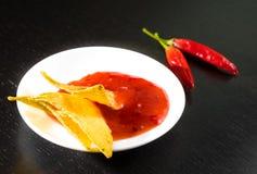 Nacho croccanti del cereale con salsa al pomodoro calda piccante come uno spuntino o aperitivo in un disco bianco Immagini Stock Libere da Diritti