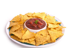 Nacho crunch salsa dip Royalty Free Stock Image