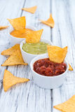 Nacho Dips (Salsa, Guacamole and Cheese) Royalty Free Stock Images