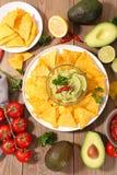 Nacho and guacamole. Close up on nacho and guacamole Royalty Free Stock Photo