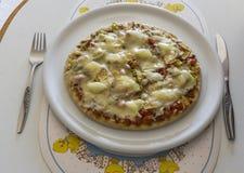 Nacho pizza. Homemade nacho pizza with mozzarella cheese Stock Photos