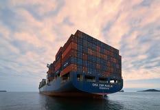Nachodka Russland - 2. August 2015: Containerschiff CMA-CGM-Speerfisch, der auf den Straßen am Anker steht Lizenzfreie Stockfotografie