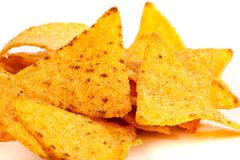 Nachos. Studio close up of nachos (mexican chips) isolated on white background Stock Photo