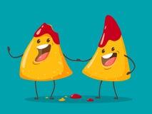 Nachos alegres mordidos na salsa do tomate Ilustra??o do vetor ilustração stock
