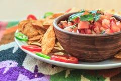 Nachos avec le Salsa chaud fait maison frais Images libres de droits