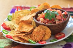 Nachos avec le Salsa et le poivre faits maison Photos stock