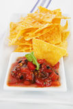 Nachos baked with cheese and tomato sauce. Stock Photography
