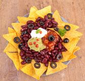 Nachos with bean and sauce Stock Images