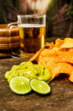 Nachos and beer Stock Photography