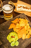 Nachos and beer Stock Image