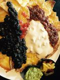 Nachos. Black-beans, pinto, chips Royalty Free Stock Photo