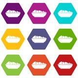 Nachos in bowl icon set color hexahedron Stock Images