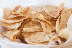 Nachos. A bowl with a lot of nachos, typical mexican food Royalty Free Stock Images