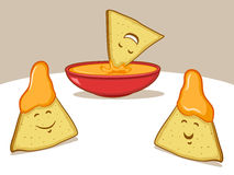 Nachos Cartoon. Illustration of smiling tortilla chips and dip Stock Image