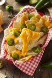 Nachos caseiros com queijo cheddar foto de stock